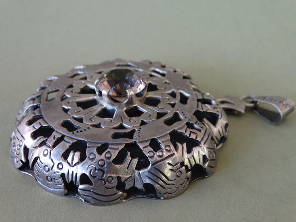 Mexican Silver and Topaz Medallion