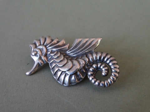 Mexican Silver Seahorse with Wings Brooch J294