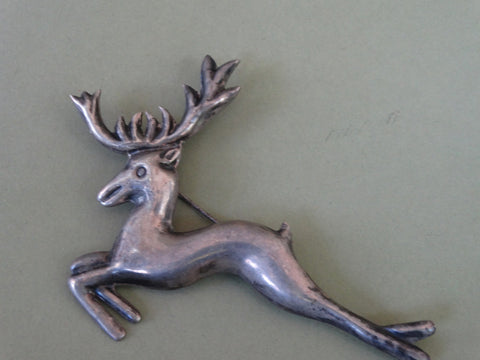 Mexican Silver Jumping Stag Brooch J300