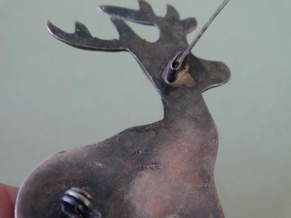 Mexican Silver Standing Stag Brooch J301