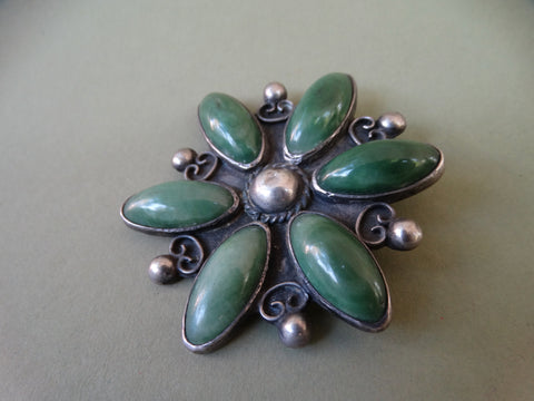 Mexican Silver and Jade Brooch, flower pattern