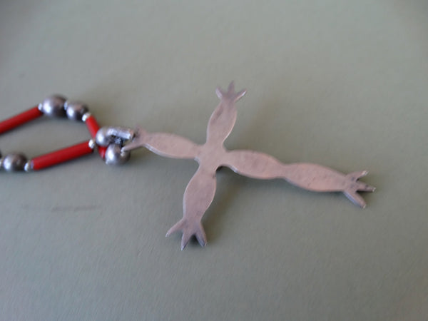 Navajo Silver and Coral Cross and Rosary