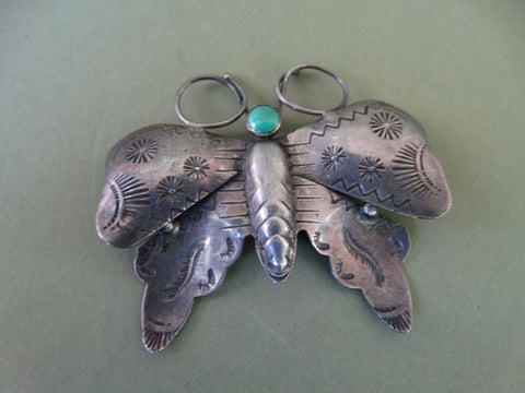 Navajo Silver and Turquoise Fred Harvey Moth Pin