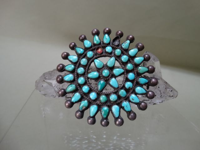 Navajo Turquoise and Silver Brooch