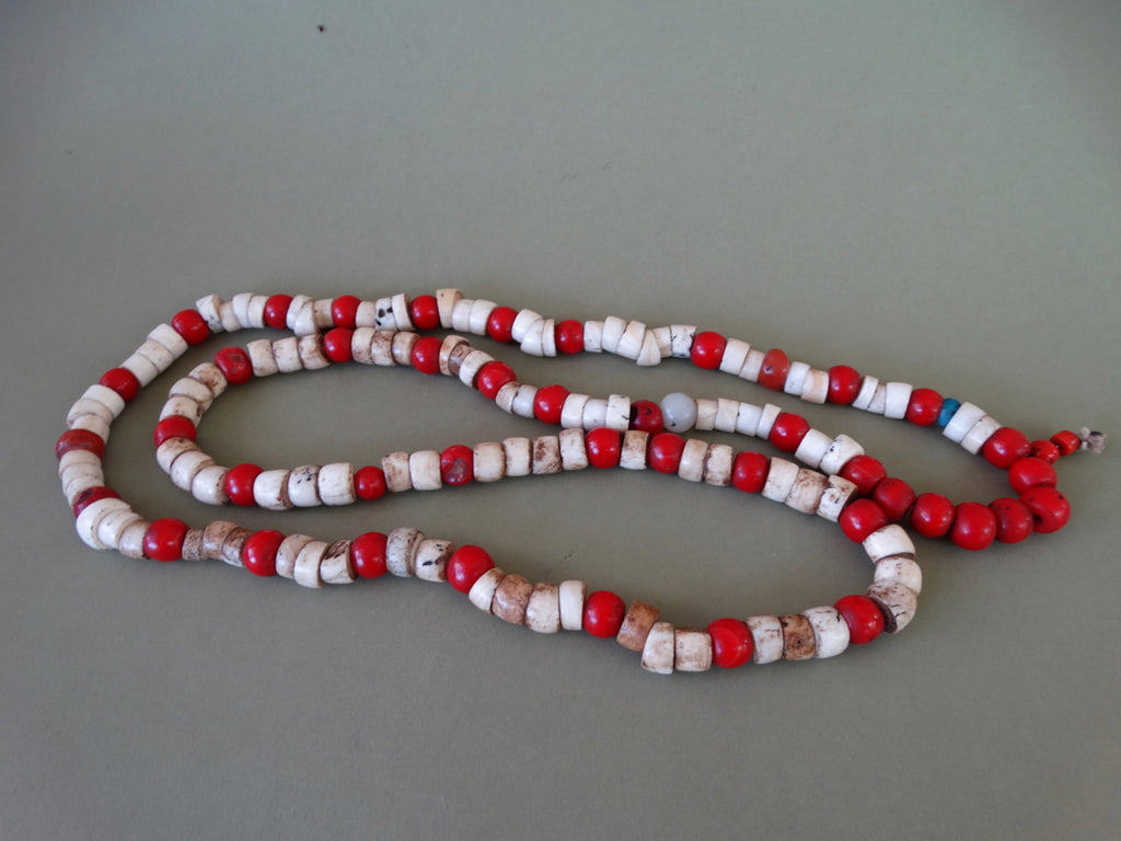 Indian Trade Beads Bone And Red Glass Early California Antiques Shop