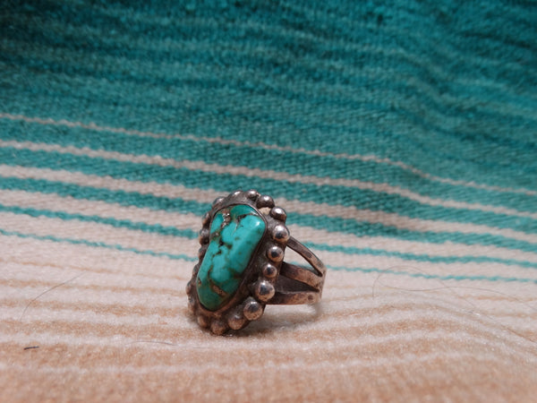 Silver Beaded Turquoise Ring