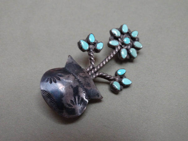 Antique Zuni Turquoise and Silver Potted. Plant Pin
