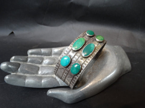 Navajo Silver and Turquoise 6-Stone Cuff
