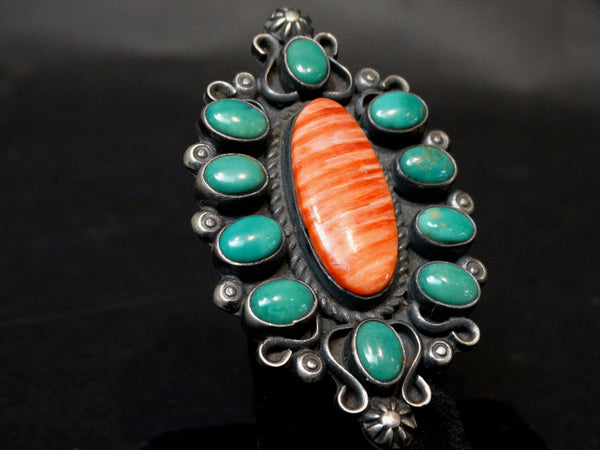 Navajo Silver Turquoise and Carnelian Ring Size 7 1/2