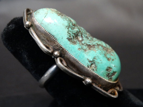 Navajo Silver Ring Size 8 1/4 Large Turquoise