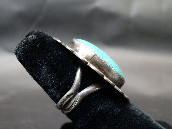 Navajo Turquoise and Silver Ring Size 8 3/4