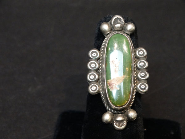 Navajo Silver and Green Turquoise Ring Size 6 3/4