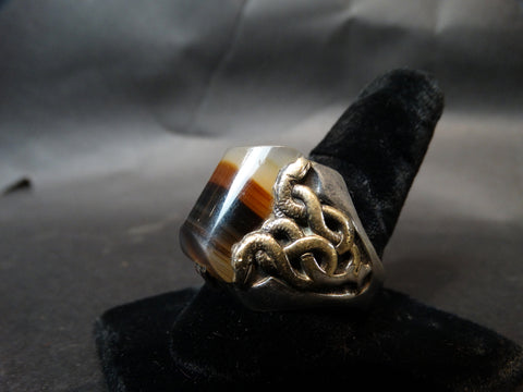 Agate and Silver and Gold Snake Ring Size 14.5 c 1950
