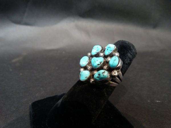 Navajo 7-Stone Turquoise and Silver ring Size 7
