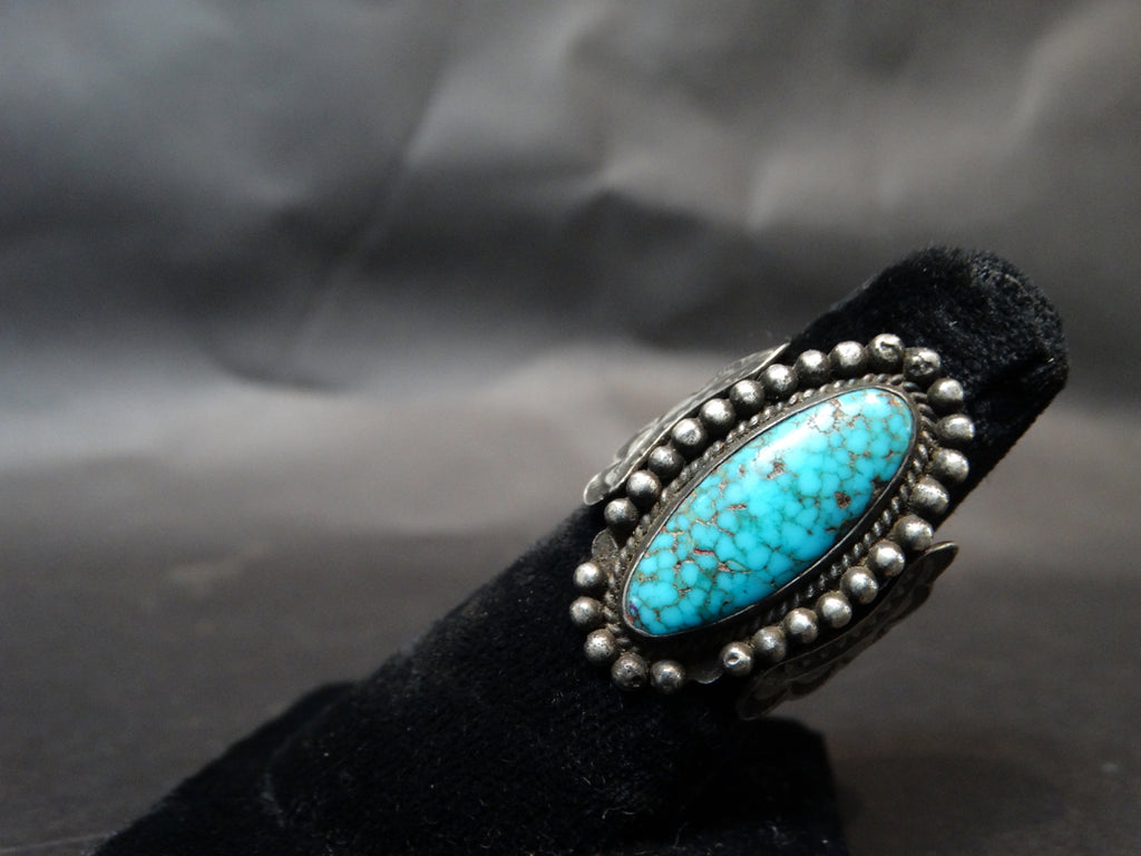 Navajo Silver and Turquoise Ring, Single Oval Stone, Size 8 1/2