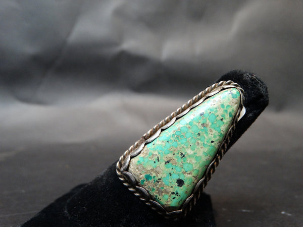 Navajo Silver and Turquoise Triangle Stone Ring, 8 1/2 size
