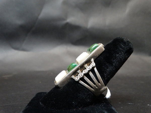 Navajo Silver, Turquoise and Mother of Pearl Men's Ring Size 10