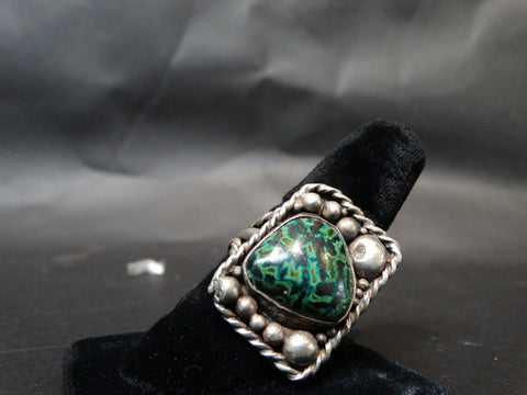 Navajo Silver and Turquoise Single Stone Men's Ring Size 11.5