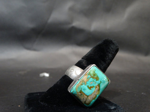 Navajo Silver and Turquoise Men's Ring Size 11.5