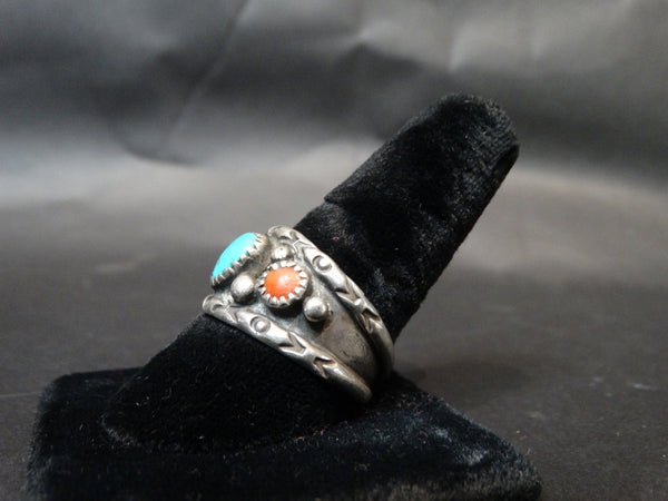 Navajo Silver, Coral and Turquoise Size 12 Men's Ring