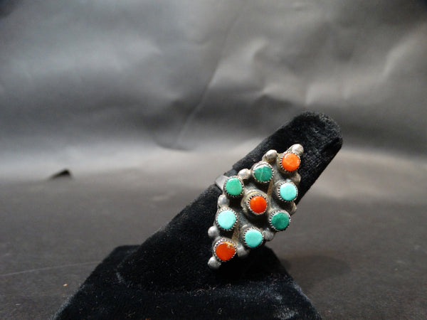 Zuni Multistone Silver, Turquoise and Coral Ring Size 8 1/2