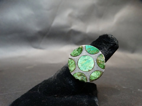 Mexican Silver and Malachite Ring, Size 8