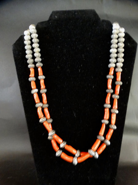 Navajo Silver and Coral Beads Necklace