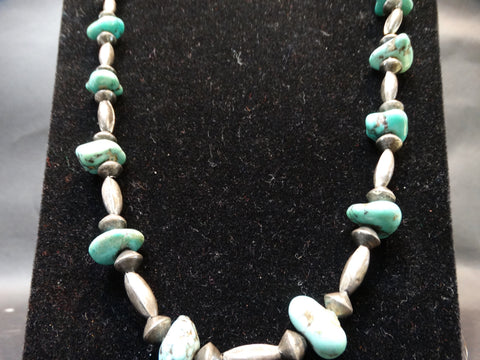 Navajo Silver, Turquoise and Coral Necklace