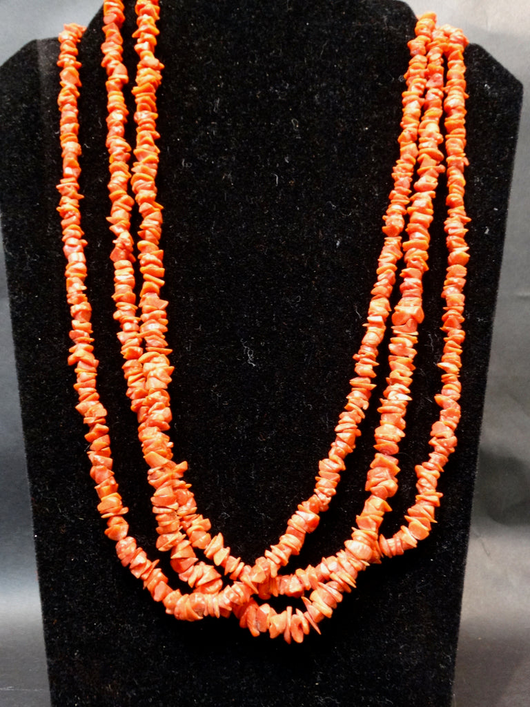 Navajo Heche Triple Strand Coral Necklace