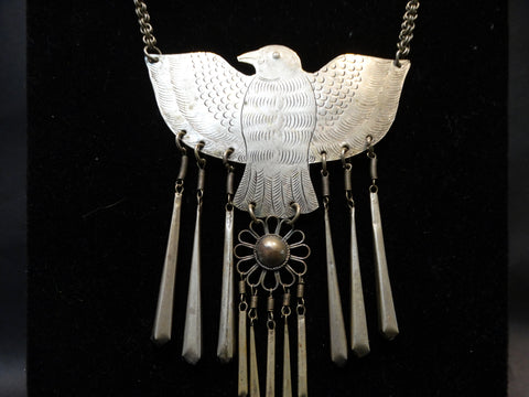 Mexican Silver Bird and Bangle Necklace