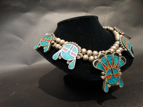 Zuni or Navajo Silver Turquoise Coral and Ebony Necklace c1950