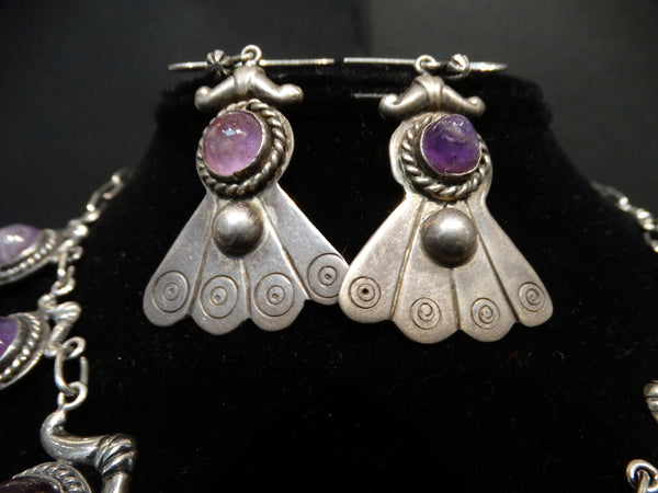 Taxco Silver And Amethyst Suite of Earrings and Necklace 1940s