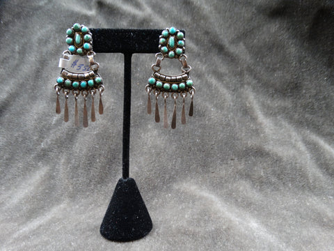 Zuni 15-stone Turquoise Pendant Earrings c 1930s
