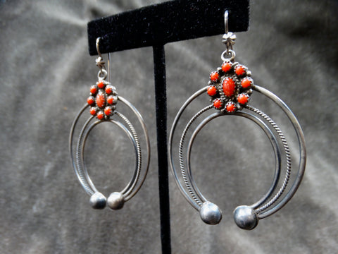 Zuni Squash Blossom 9-stone Coral and Silver Pendant Earrings 1940s