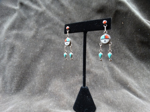 Santo Domingo Sunface Pendant Earrings c 1950