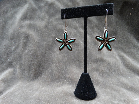 Zuni 5-stone Star Pendant Silver & Turquoise Earrings c 1950