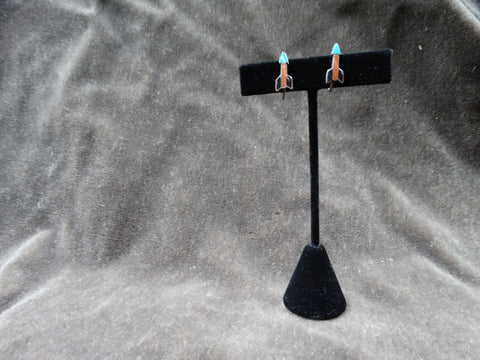 Santo Domingo Arrow Earrings Silver with Coral Mother of Pearl and Turquoise