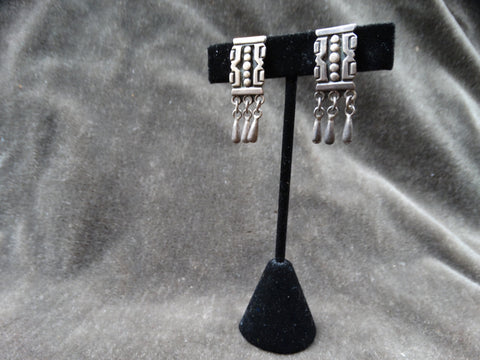 Taxco Mexican Silver Aztec Square Earrings with Triple Dangles c 1946