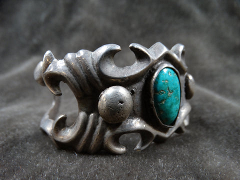 Navajo Sand-Cast Cuff with Single Center Stone c 1940s