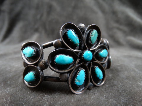 Zuni 11-stone Turquoise and Silver Flower Motif Cuff c 1950