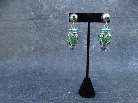 Margot de Taxco Silver Enamel Snake head Earrings
