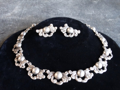 Taxco Silver Suite of Earrings and Necklace circa 1940s J427