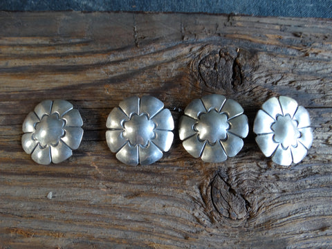 Navajo Silver Buttons Set of 4 circa 1930-40 J434