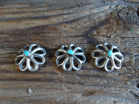 Navajo Sandcast Silver Buttons with Turquoise Centers and Copper Shanks Set of 3 J435