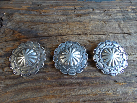 Navajo Hand-Stamped Silver Buttons with Bump-out Centers Set of 3 circa 1930s J436
