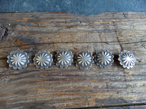 Set of Six Cast Silver Navajo Buttons circa 1950s J437