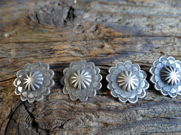 Navajo Silver Blouse Buttons set of 5 circa 1930s J438