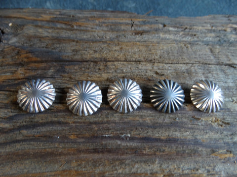 Navajo Silver Sunburst Buttons Set of 5 circa 1940s J439