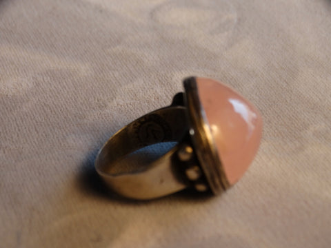 William Spratling Rose Quartz & Silver Ring circa 1940s J441
