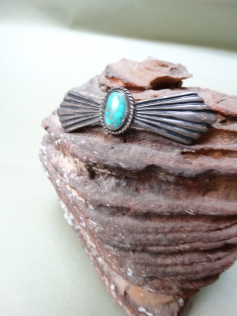"Navajo Silver and Turquoise ""Fan"" Pin"
